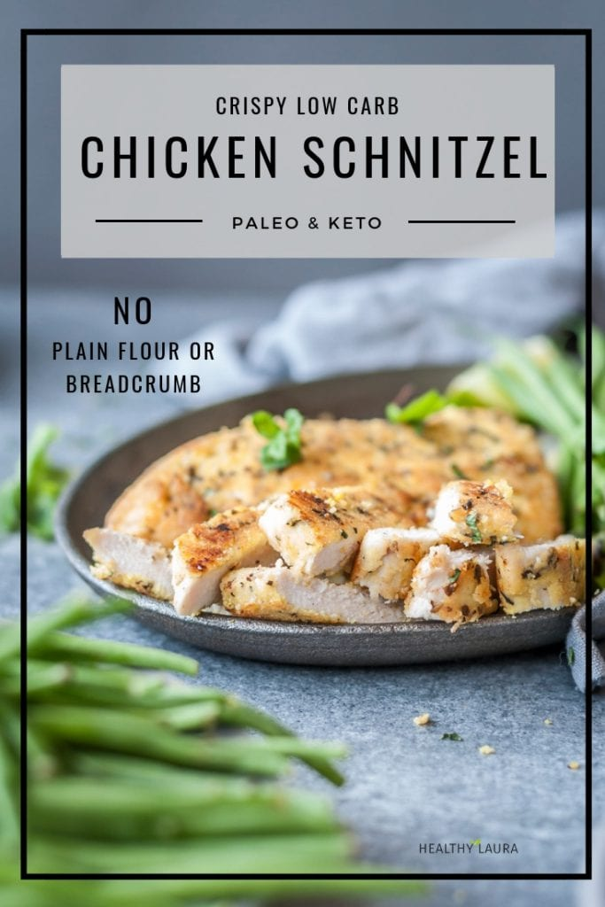 Paleo Chicken Schnitzel by Healthy Laura Food Photography. HealthyLaura @healthylauracom paleo, keto crumbed chicken recipes, chicken recipes, low carb chicken almond flour crumb recipes paleo, chicken, paleo chicken recipe, gluten free paleo almond meal chicken recipe, paleo healthy recipes, paleo chicken recipe, paleo chicken schnitzel. #paleochickenrecipes #lowcarbchicken #ketochickenrecipes