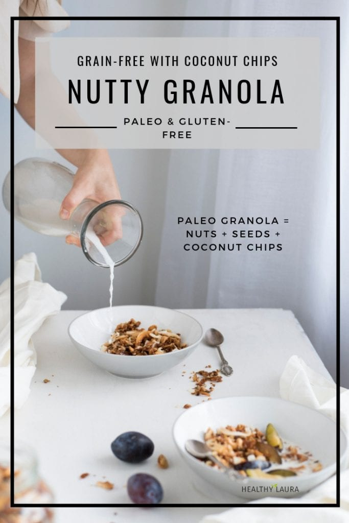 Paleo Granola Grain-Free full of Nuts by HealthyLaura paleo recipes. Healthy Laura @healthylauracom almond granola with coconut chips. Crispy paleo honey granola recipe that is dairy free and easy quick breakfast or brunch for intuitive eating. #paleobreakfast #almondhoneygranola #paleogranola