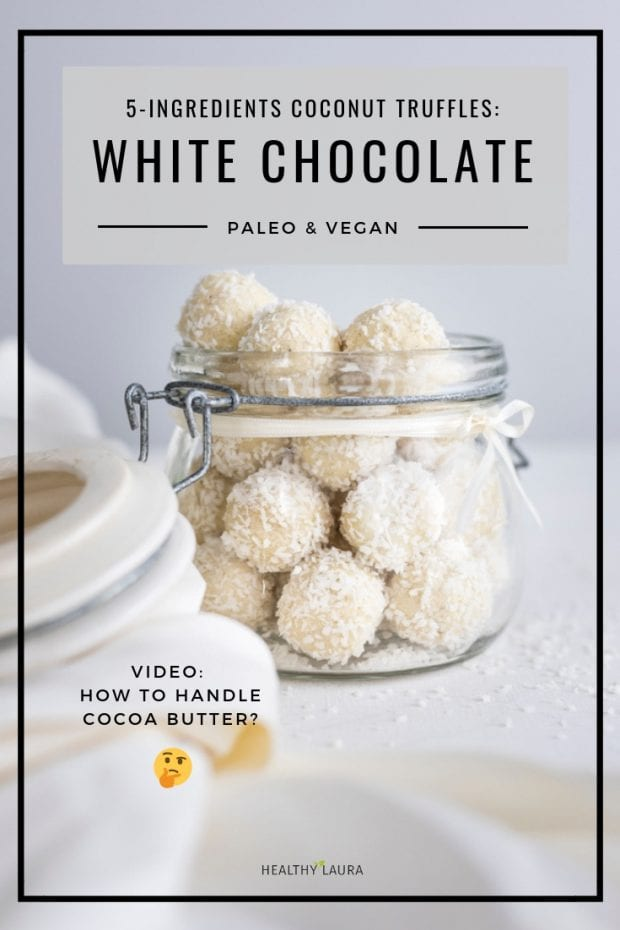 Paleo white chocolate truffles with coconut & protein by Healthy Laura Food Photography. HealthyLaura @healthylauracom Vegan white chocolate Raffaello, christmas truffles, protein white chocolate bliss balls, dairy free recipes vegan, quick white coconut chocolate vegan, easy vegan white chocolate, gluten-free white chocolate with honey for christmas. #paleowhitechocolatetruffles #paleowhitechocolate #veganwhitechocolate #christmaschocolate
