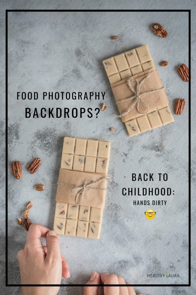 DIY Food Photography Backdrops & Tahini Chocolate by Healthy Laura Food Styling. HealthyLaura @healthylauracom background materials