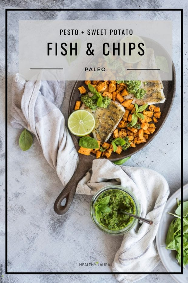 Paleo Fish and chips by Healthy Laura Food Photography. HealthyLaura @healthylauracom paleo healthy fish and chips recipe, dairy free recipes paleo, sweet poatato, white fish, baked paleo fish, gluten free dinner weight watchers. #paleocomfort #paleoseafood #paleoseafood #paleofish #healthyfishandchips