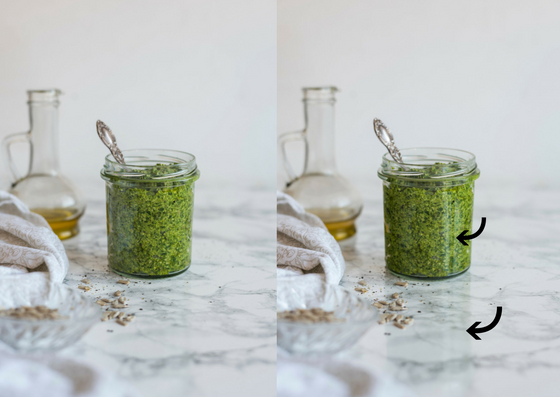 Reflection, glare & pesto by Healthy Laura food photography. My food blogging and food blog food photography polarizing filter to get rid of the galre on tableware and work with shiny tableware. #foodphotography #foodblogger #foodblog #foodblogging #foodblogtips