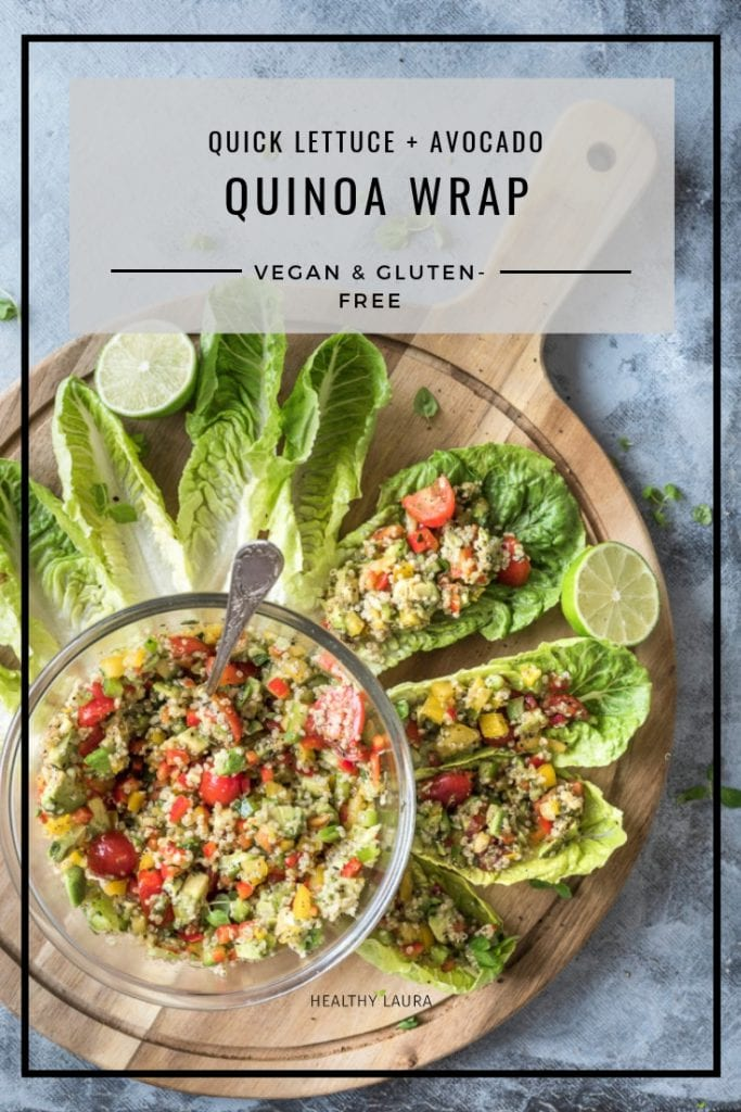Quinoa wraps with Lettuce & Avocado by Healthy Laura Food Photography. HealthyLaura @healthylauracom turmeric Vegan quinoa Lettuce wraps, Avocado recipe, avocado lunch, dairy free recipes vegan, quick quinoa vegan, easy vegan wrap, gluten-free wrap, weight watchers. #vegancomfort #veganquinoa #quinoavegan #quinoawrap