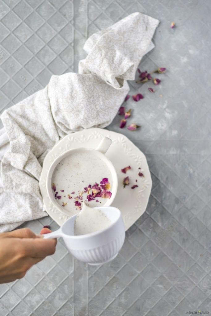 Keto Hemp Seed Milk by Healthy Laura Food Photography & Styling. HealthyLaura @healthylauracom low carb vegan milk with roses, low carb paleo milk, vegan paleo milk & keto milk vegan healthy recipe. HealthyLaura @healthylauracom dairy-free milk, low carb milk, healthy milk, milk replacemnet. #paleolowcarbmilk #foodstyling #hempseedmilk #ketopaleomilk