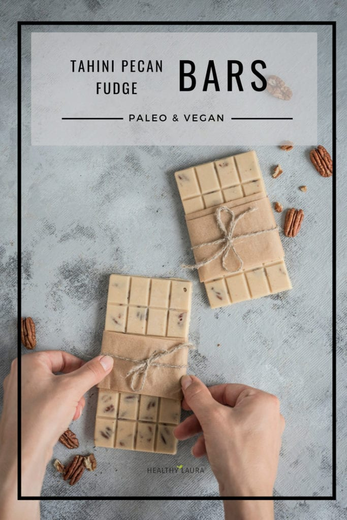 Paleo tahini Pecan fudge Bars by Healthy Laura Food Photography. HealthyLaura @healthylauracom raw vegan No Bake Fudge bars, dessert cupcakes, gluten free coconut oil recipe, easy paleo pecan fudge cups, dairy free recipes paleo, quick paleo, easy paleo tahini fudge thanksgiving, paleo quick dessert. #veganpaleo #paleofudge #paleotahinidessert #nobakebars #tahinifudge