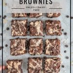 Flourless Marble Brownies Recipe by Healthy Laura Food Photography. HealthyLaura @healthylauracom chocolate dairy free healthy marble brownies with tahini and chocolate chips. It's an easy dairy free recipes vegan, quick healthy no bake vegan, easy paleo brownie, gluten-free, grain free sweet treat with honey or maple syrup. #paleobrownies #tahinibrownies #marblebrownies #flourlessbrownies #healthybrownies
