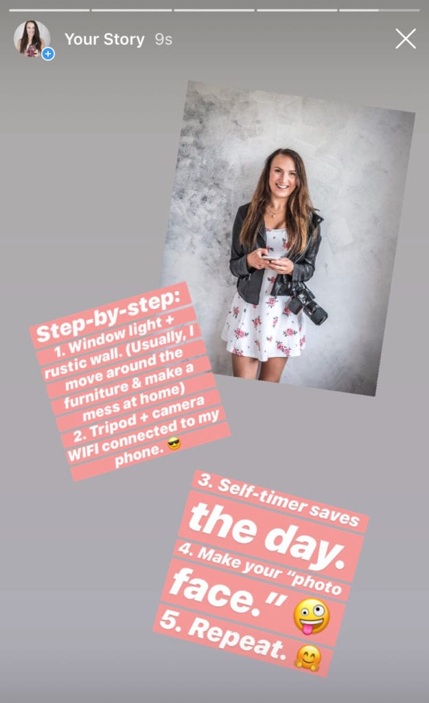 Instagram @healthylauracom stories & HealthyLaura Food photographer & foodblogger tips to take self-portraits with a DSLR. Wifi, remote control & self-timer for Instagram images. #foodphotographytips #foodstylingtips #photogaphytricks #foodphotography #foodstyling #foodblogging
